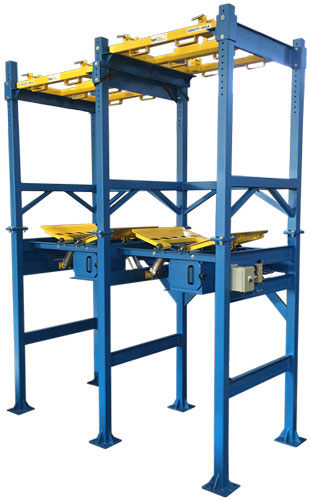 Dual side by side bulk bag unloaders with bag agitator paddles