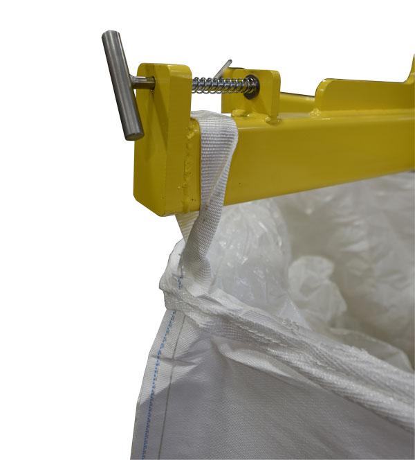 securing bulk bag to unloader lifting frame
