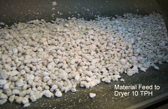 pre-crushed pumice fed to fluid bed dryer