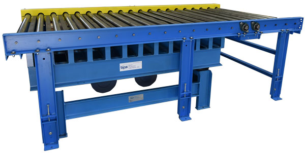 vibrating grid deck table under roller conveyor
