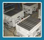 vibrating tables used for powder compaction in boxes