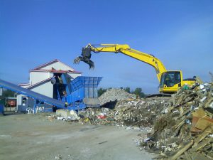 Loading C&D Waste Into Recycling System