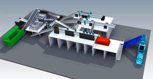 Recycling System - Multi-Stream - Sort 10 - Perspective View