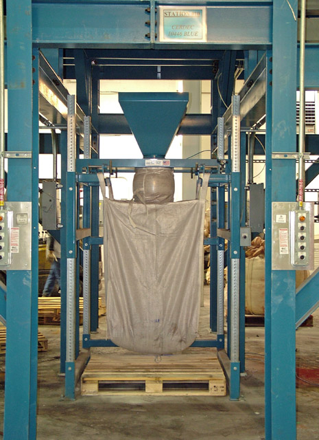 Bulk Bag Filler for Petroleum Coke Located Under Surge Hopper