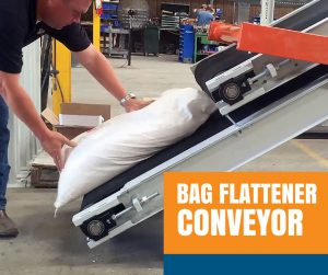 Bag Flattener Conveyor for Palletizing Bags of Fertilizer