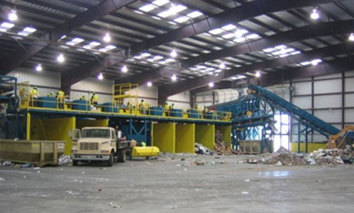 Commercial Waste Recycling System with Picking Stations