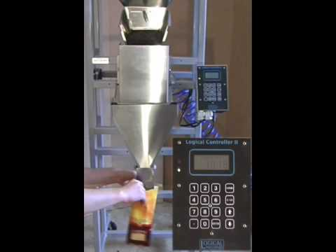 Coffee Filling Machine – Logical Machines S-4 weigh fill system demonstration: 1lb whole coffee