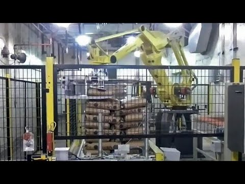 50 lb. Bag Robotic Palletizer Stacks Bags Filled with Sugar