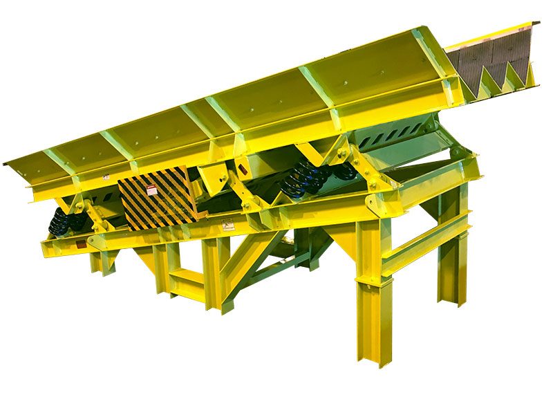 inclined or sloped vibrating conveyor with v channels