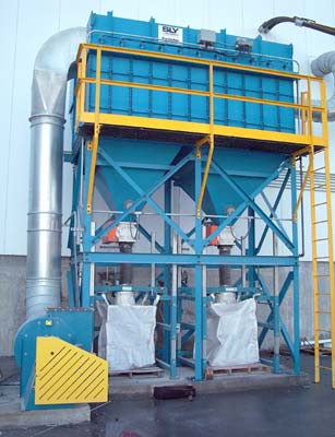 bulk bag fill station under reverse pulse dust collector