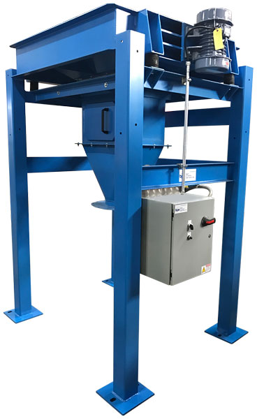Bulk bag unloader frame with shaker motor and bag tie off access door