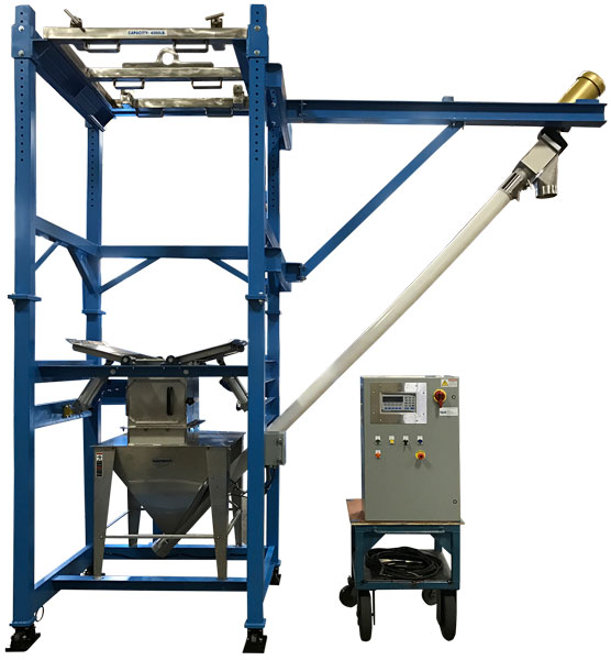 Bulk bag unloader with flex screw conveyor and portable controls