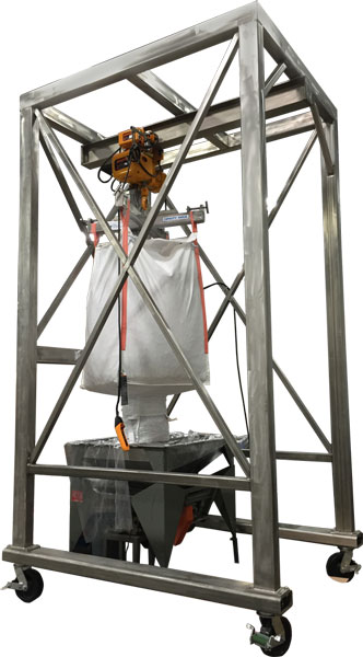 portable stainless steel bulk bag unloader