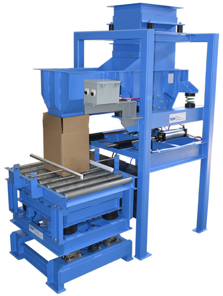 Vibrating boxes with grid deck table under roller conveyor