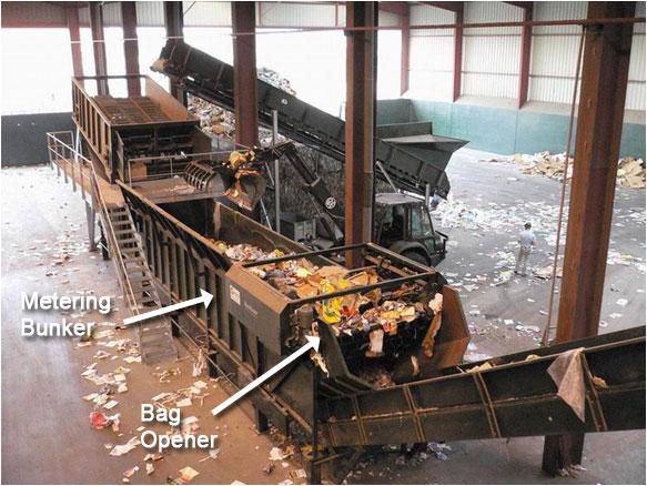metering bunker and bag opener