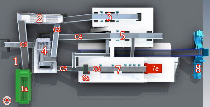 Recycling System - Multi-Stream - Sort 10 - Overhead View