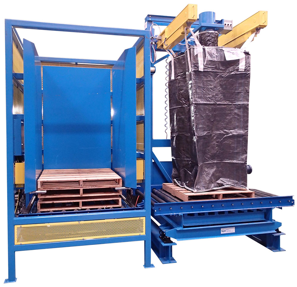 bulk bag filler with wooden pallet destacker