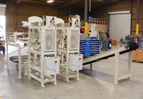 Dual or Side by Side Valve Bag Packing Machine with Conveyors