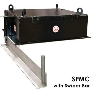 suspended permanent magnet for conveyor applications with swipe bar