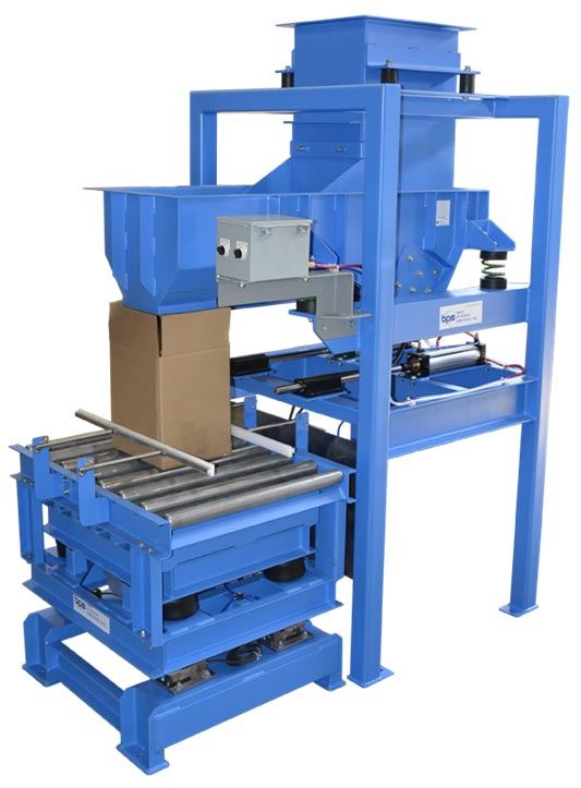 automatic box or drum filling system with vibrating densifier