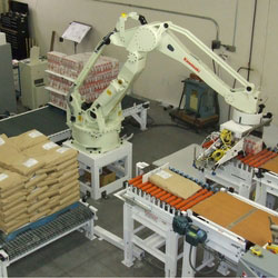 palletizing robot stacking bags on pallets