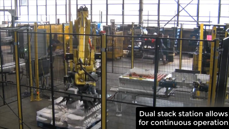 robot and dual bag stacking station with pallets