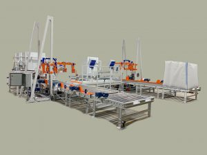 Dual Bulk Bag Fillers with Automatic Pallet Dispensers for Robotic Forklifts