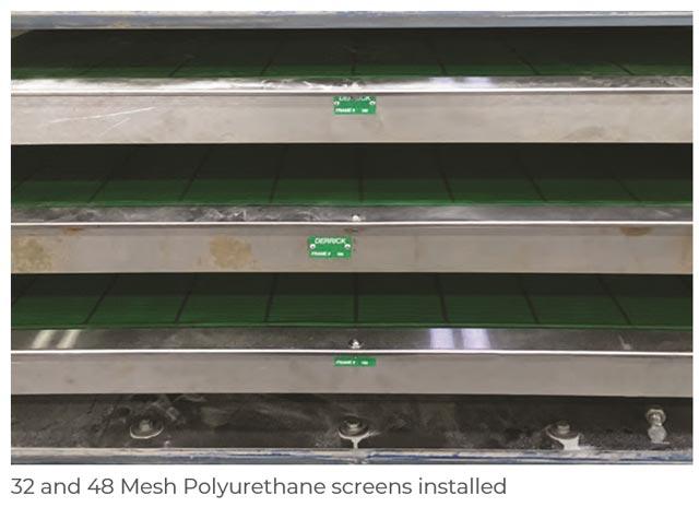 32 and 48 mesh polyurethane screens at frac sand plant
