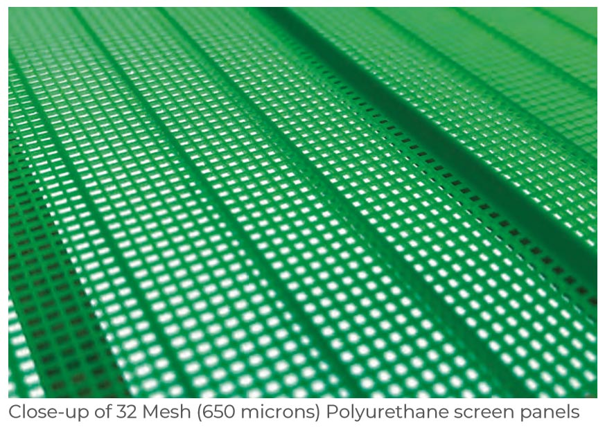 close up of 32 mesh 650 microns polyurethane screen panels frac sand plant