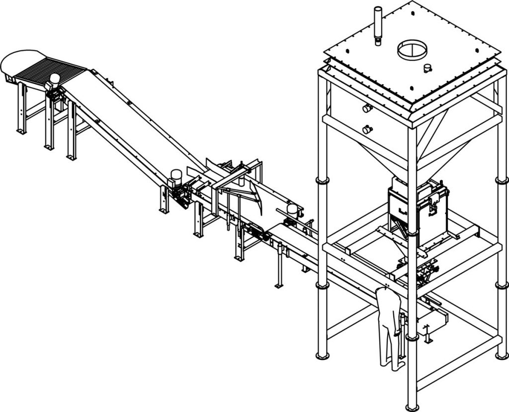 pool salt packaging machine and system perspective view