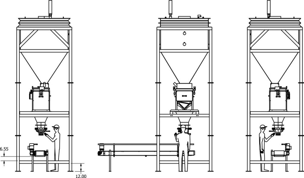 pool salt packaging machine and system - side elevation