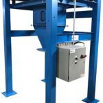 big bag unloader frame with vibrating motor and bag untie access door