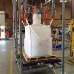 bulk bag filling machine over pallet roller conveyor