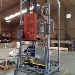 bulk bag filling machine over pallet roller conveyor rear view