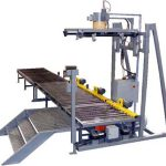 bulk bag filling machine with roller conveyor rear view