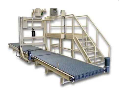 bulk bag barley bagging equipment with platform and take away conveyor