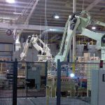 dual palletizing robots at end of packaging line
