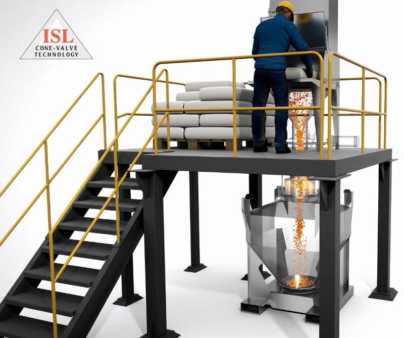 50-pound-bag-dump-station-into-stainless-steel-IBC-blending-bin