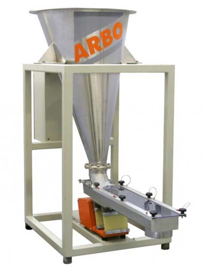 arbo kda-vv110 volumetric feeder for pellets powder flakes fiberglass peanuts