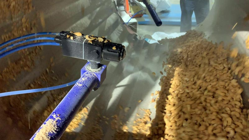 Electrostatic spray nozzle applies liquid seasoning to nuts and seeds