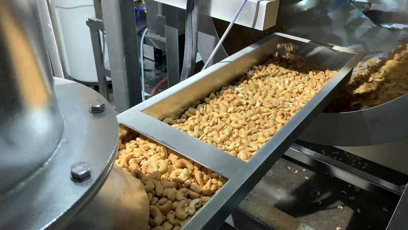 volumetric feeder doses raw cashews into enrobing drum