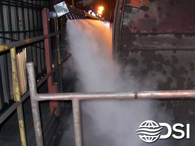 Dry Fog Dust Suppression system for rail car dump station