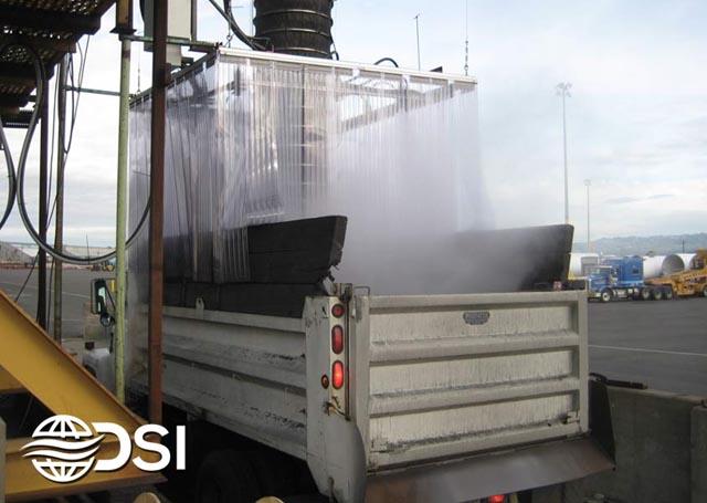 Dry Fog Dust Suppression system for dump truck loading station