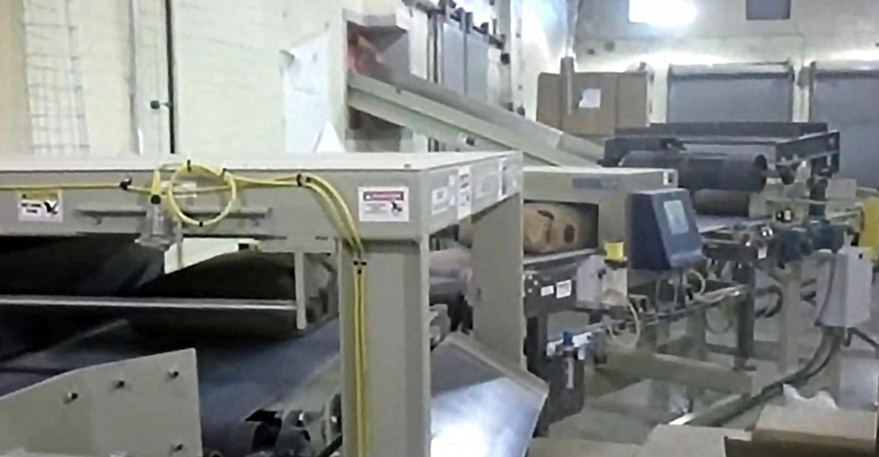 bag flattener inline metal detector and bag rejector
