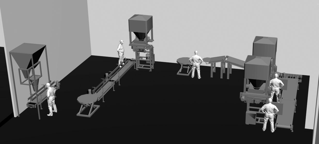 3D render layout of limestone and pigment powder bagging system