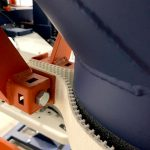 close up of bag clamp strip for dust controlled filling