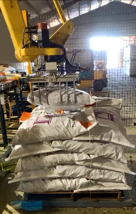 fanuc robotic palletizer stacking bags of soybeans