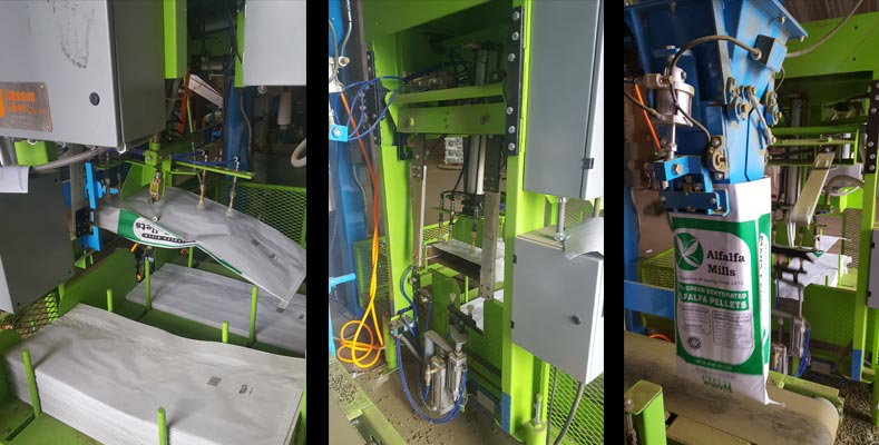 automatic bag placer machine and hanger for open mouth bags