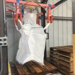 bulk bag filling station with pallet roller conveyor