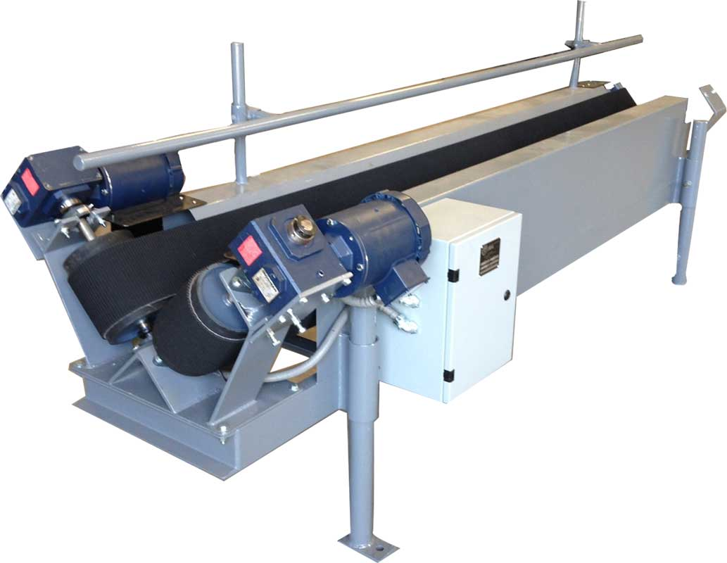 high speed v shaped trough conveyor for open top bags